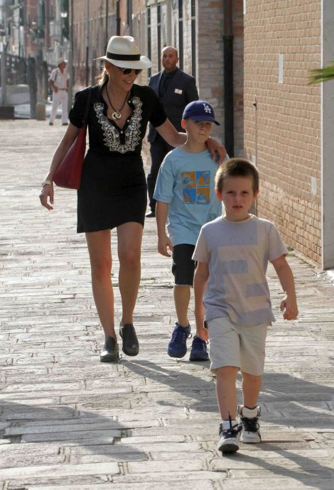 Sharon Stone and her adoptive sons in Venice, Italy